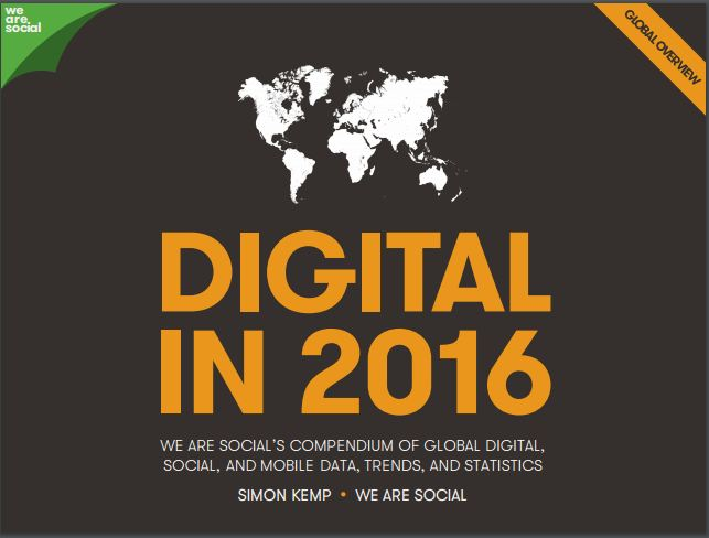 Global Digital Statistics in 2016: DIGITAL IN 2016 report contains all the digital data, social stats and mobile numbers you need to understand the Global Digital Statistics.