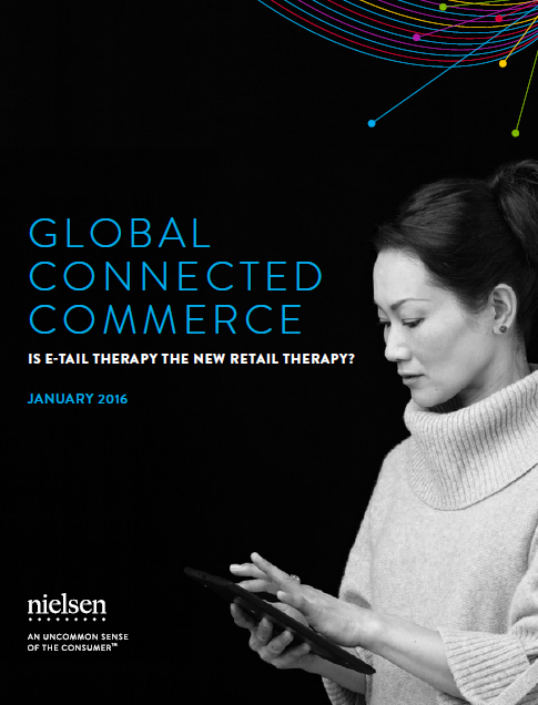 global-connected-commerce-is-e-tail-therapy-the-new-retail-therapy-january-2016-E-commerce is a growing phenomenon. 57% of respondents surveyed say they purchased from an e-tailer outside their country's border in the past six months.