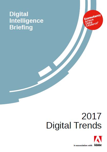 2017 Digital Trends Report Adobe.Based on a global survey of more than 14,000 digital marketers and e-commerce professionals across EMEA, North American and Asia Pacific markets, these digital trends highlights some key challenges for businesses making the change, key insights from the research include: