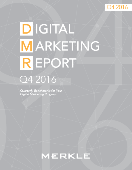 Digital Marketing Report Q4 2016 | Merkle, Advertiser investment in digital marketing still keeps growing year-over-year. Paid search, social media, and organic search show high rates of performance.