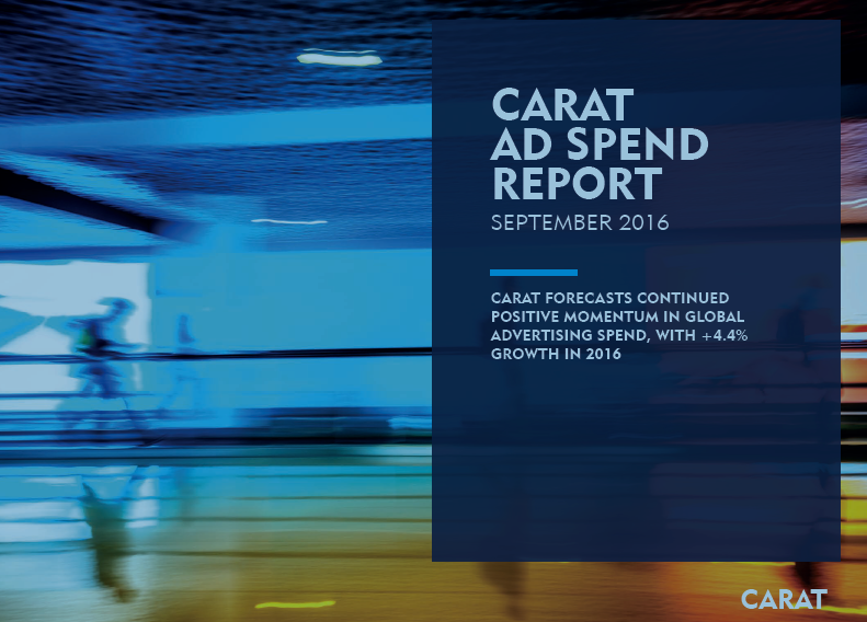 CARAT Ad Spend Report, Q3 2016, Advertising spend remains healthy in 2016, increasing globally by US$23 billion in 2016 to hit $548.2 billion a +4.4% year-on-year increase compared to 2015