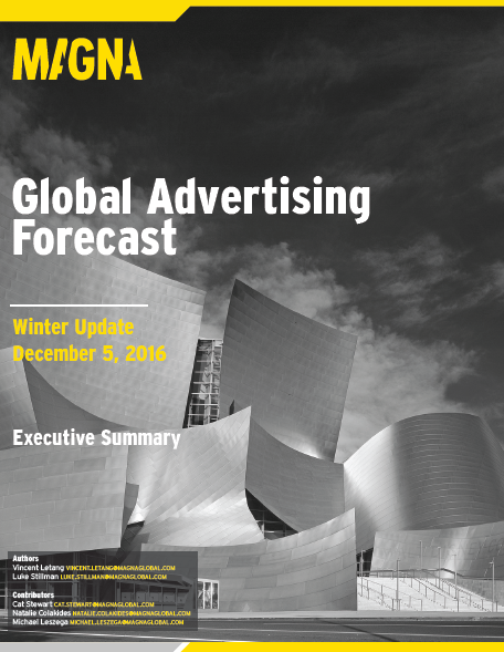 Global Advertising Forecast, Q4 2016 MAGNA, Ads revenues demonstrated their strongest growth this year, as advertising sales reached $493B. The below points offer an overview about global advertising.