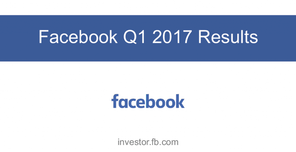 Facebook Q1 2017 Earnings, Facebook continues to grow with more than 1.9 billion people now using Facebook every month and almost 1.3 billion using it every day. Find out more about Facebook revenue in the Digital Marketing Community.
