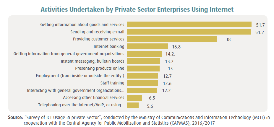 Egyptian Private Sector Enterprises Use Internet in 2017 to Gain Info, Send & Receive E-mail MCIT