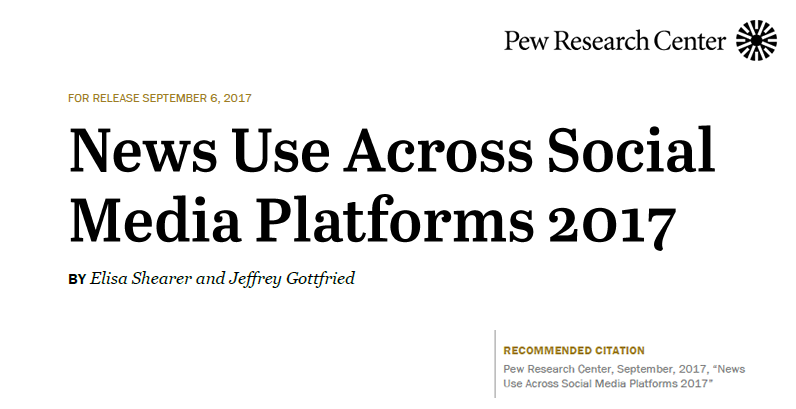 Sharing news in social media has become a noticeable phenomenon because individuals can now participate in news production and diffusion in the large global virtual communities. Nowadays, Americans are using social media increasingly to get their daily dose of news., News Use Across Social Media Platforms, Sep 2017 Pew Research Center