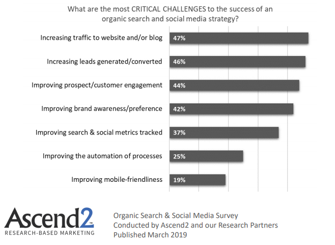 Critical Challenges of the organic search & social media strategies success, 2019