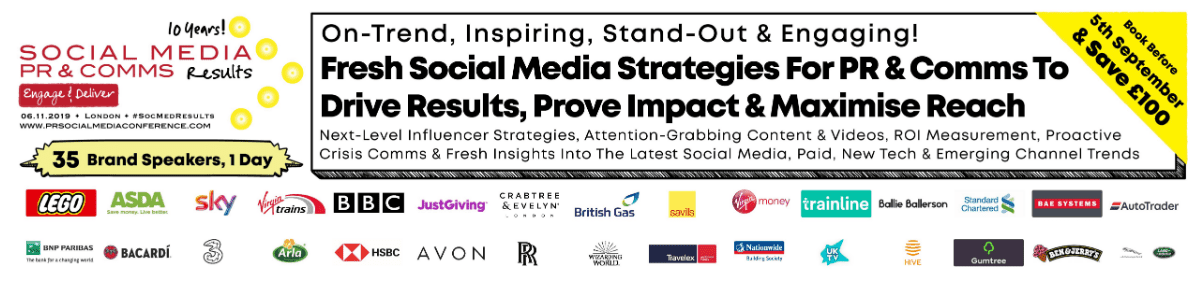 The UK Social Media Results for PR & Comms Conference [2019] Social Media Results for PR & Comms Conference is the biggest PR & marketing event in the UK to optimize ad spend, assure post visibility & maximum engagement, impactful advertising & content strategies