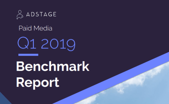 Paid Media Benchmark Report, Q1 2019: Data from 13.3 billion impressions and nearly 136 million clicks powered by AdStage. Stats on CPM, CPC, and CTR benchmarks for Facebook, Facebook Messenger, Instagram, Twitter, LinkedIn, Google Ads, Google Display Network, YouTube, and Bing Ads