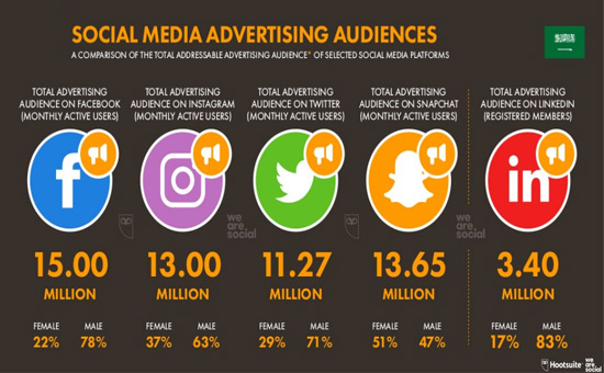 Social Media Advertising Audience in Saudi Arabia