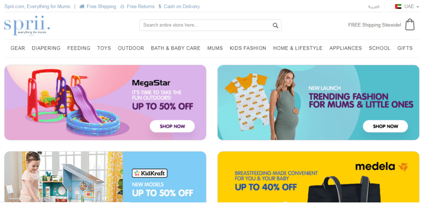 Launch eCommerce business, 5 eCommerce success stories from the top eCommerce platforms in KSA & UAE, the Leading eCommerce Platform for Mums in the Middle East 'Sprii.com' case study