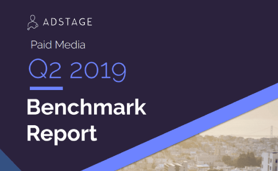 Paid Media Benchmark Report, Q2 2019, Social media Benchmark, Report, Stats on CPM, CPC, and CTR benchmarks for Facebook, Facebook Messenger, Instagram, Twitter, LinkedIn, Google Ads, Google Display Network, YouTube, and Bing Ads