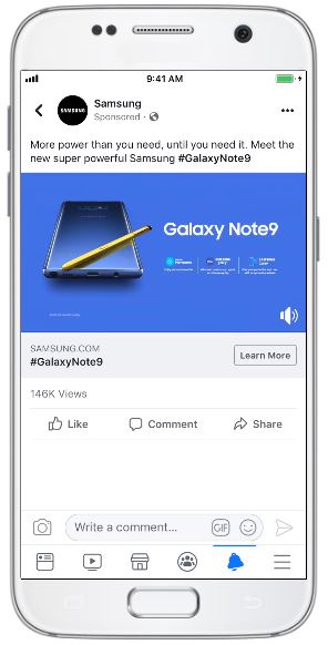 Samsung used Facebook and Instagram video ads and ads in Stories to increase upgrades to its Galaxy Note 9 smartphone by 15%.