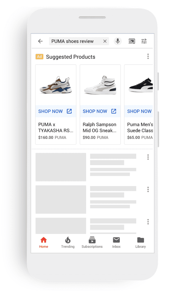 Google is enhancing the placement and visibility of Shopping ads on YouTube, placing ads in home feed and search results.
