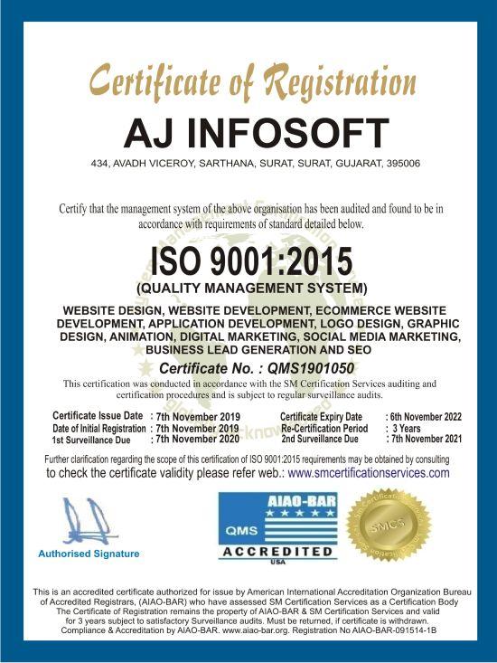 iso certified AJ Infosoft