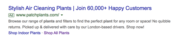 An Example for a Google Ad for Air Purifying House Plants