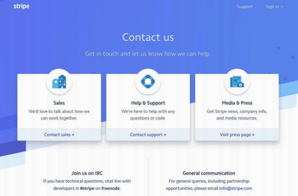 Contact Us Page Examples in Tech Industry: Stripe