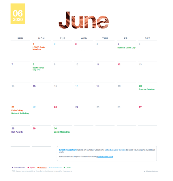 Find Out About Twitter Events Calendar in June 2020 | DMC