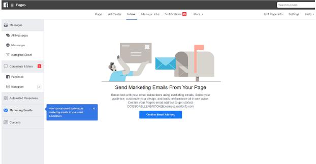 Facebook Allows Sending Marketing Emails Via Facebook Pages