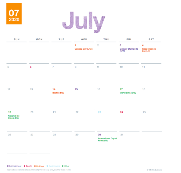 Twitter's July Marketing Calendar in 2020 | DMC