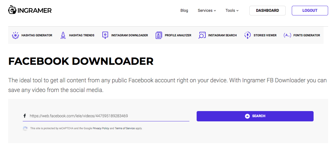 Ingramer Facebook Video Downloader